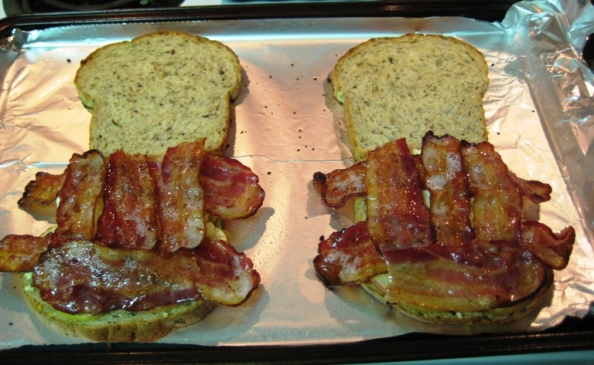Try to distribute the bacon evenly so you will get a bit in each bite.