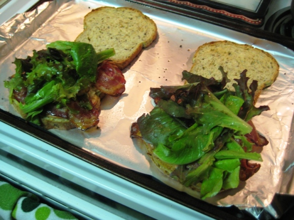 The greens add a freshness to the sandwich, which might otherwise be a bit too heavy.