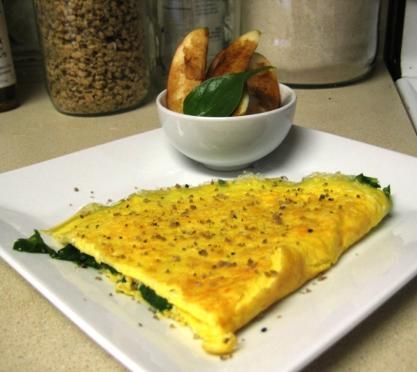 A feta and spinach omelet topped with smoked black pepper and Chardonnay smoked sea salt goes great with slices of Pink Lady apple drizzled with strawberry balsamic vinegar and rubbed with fresh basil.