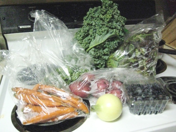 Week Four: Carrots, basil, kale, salad mix, blueberries, red potatoes, and one onion.