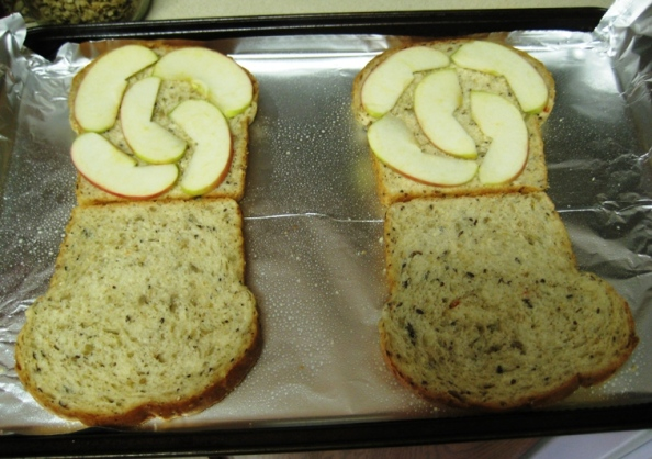 Try to keep the apple to a single layer, or the bread will burn before the apple has time to soften properly.